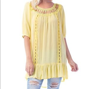 Yellow Ruffle-hem Cutout Tunic